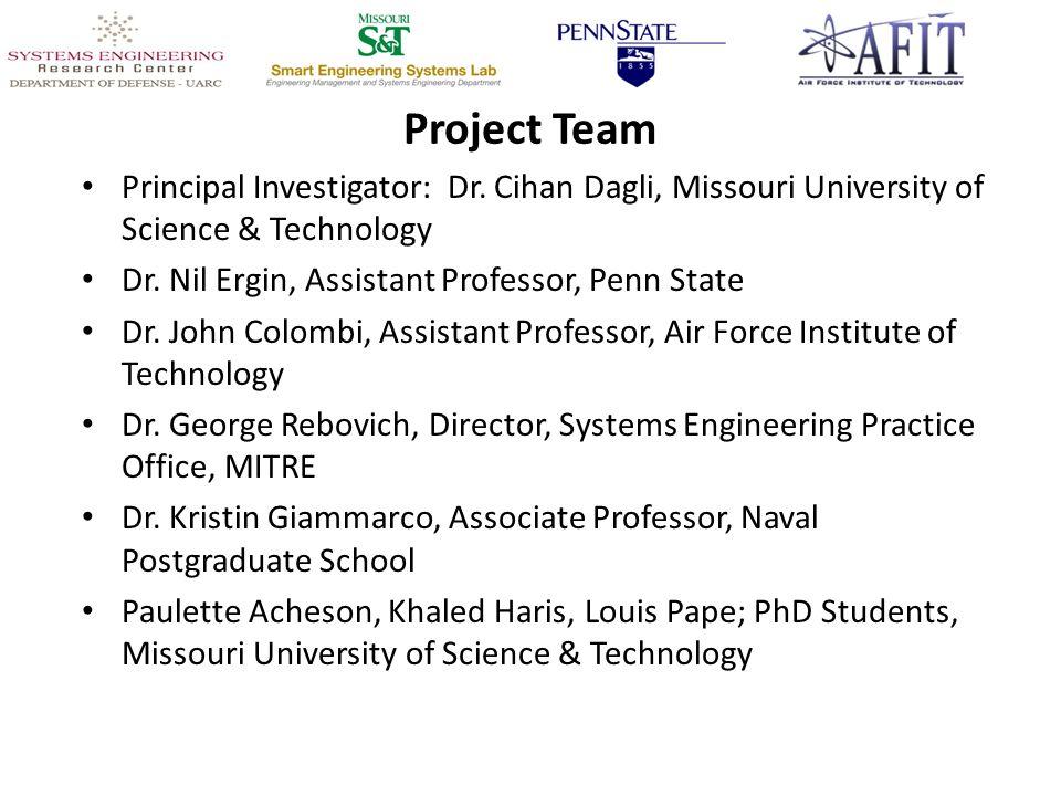 Project Team Principal Investigator: Dr. Cihan Dagli, Missouri University of Science & Technology Dr. Nil Ergin, Assistant Professor, Penn State Dr. J