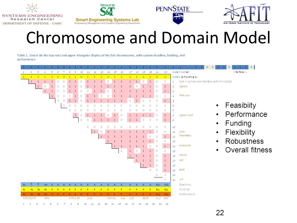 Chromosome and Domain Model 22 Feasibiity Performance Funding Flexibility Robustness Overall fitness
