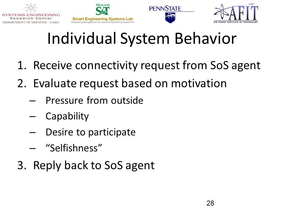 Individual System Behavior 1.Receive connectivity request from SoS agent 2.Evaluate request based on motivation – Pressure from outside – Capability – Desire to participate – Selfishness 3.Reply back to SoS agent 28