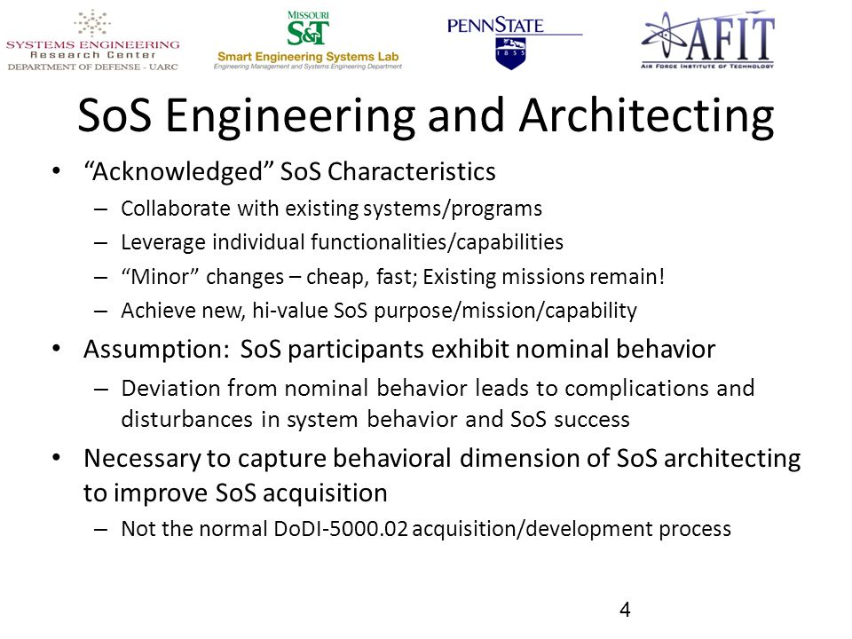 SoS Engineering and Architecting Acknowledged SoS Characteristics – Collaborate with existing systems/programs – Leverage individual functionalities/capabilities – Minor changes – cheap, fast; Existing missions remain.