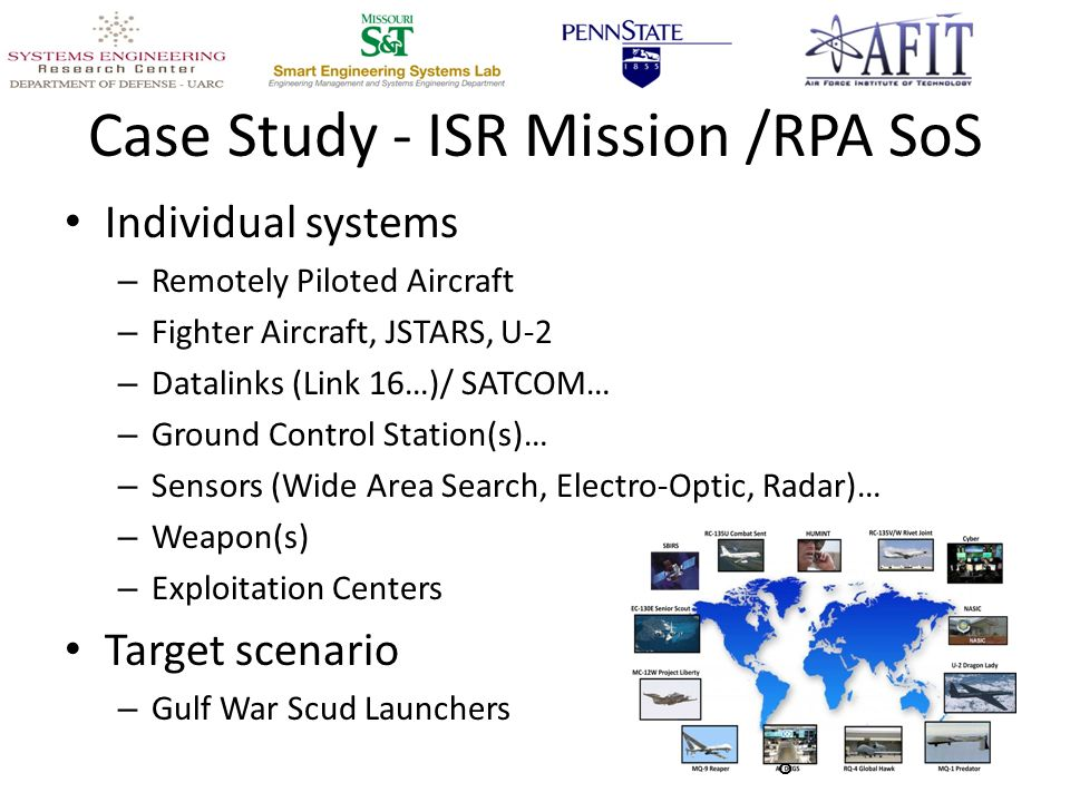 Case Study - ISR Mission /RPA SoS Individual systems – Remotely Piloted Aircraft – Fighter Aircraft, JSTARS, U-2 – Datalinks (Link 16…)/ SATCOM… – Ground Control Station(s)… – Sensors (Wide Area Search, Electro-Optic, Radar)… – Weapon(s) – Exploitation Centers Target scenario – Gulf War Scud Launchers 8