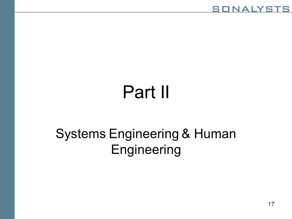 17 Part II Systems Engineering & Human Engineering