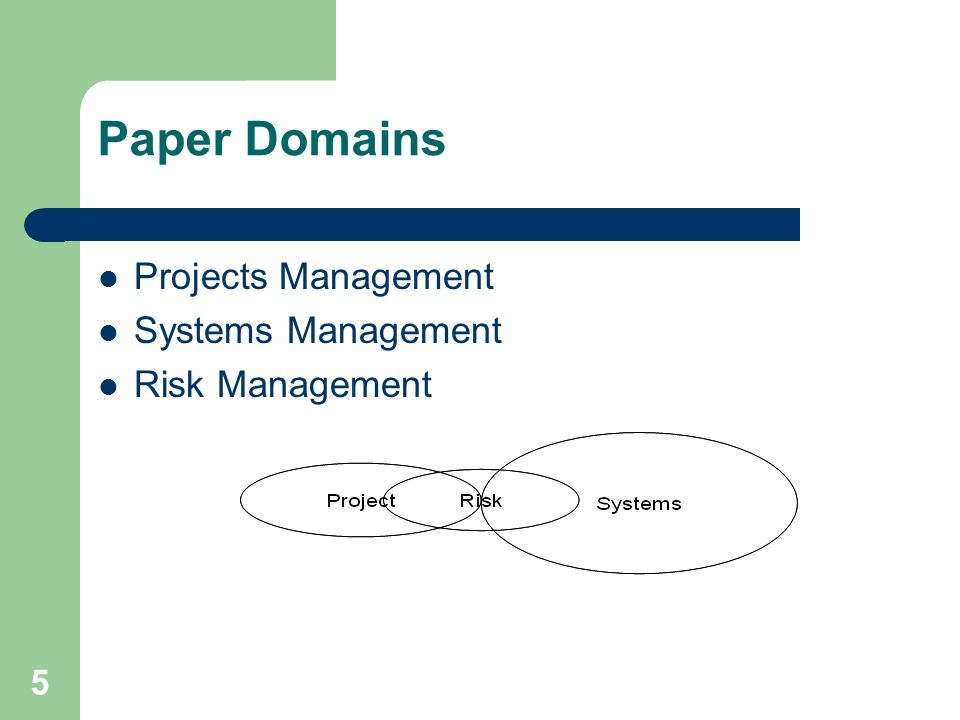 5 Paper Domains Projects Management Systems Management Risk Management