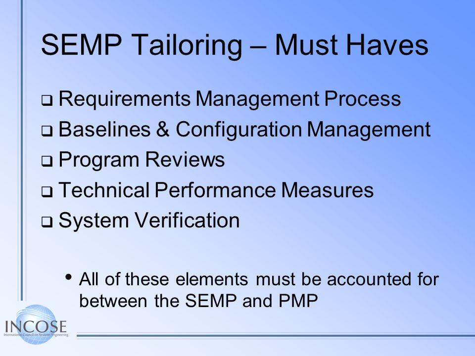 SEMP Tailoring – Must Haves Requirements Management Process Baselines & Configuration Management Program Reviews Technical Performance Measures System