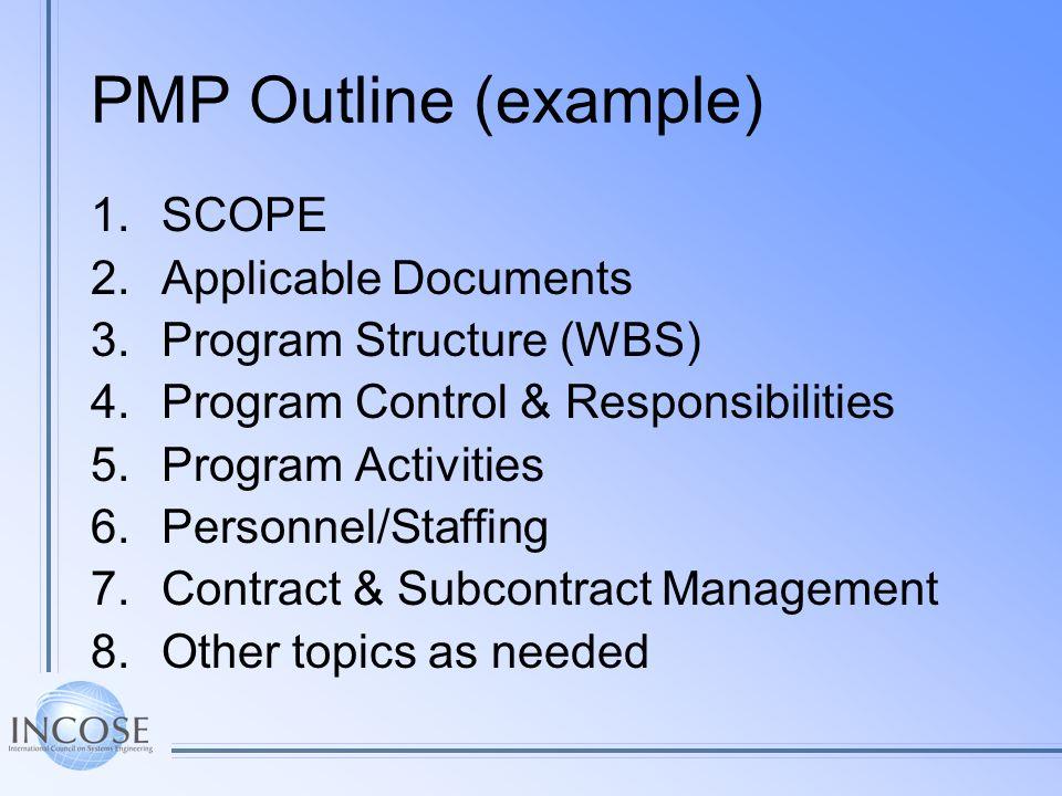 PMP Outline (example) 1.SCOPE 2.Applicable Documents 3.Program Structure (WBS) 4.Program Control & Responsibilities 5.Program Activities 6.Personnel/S