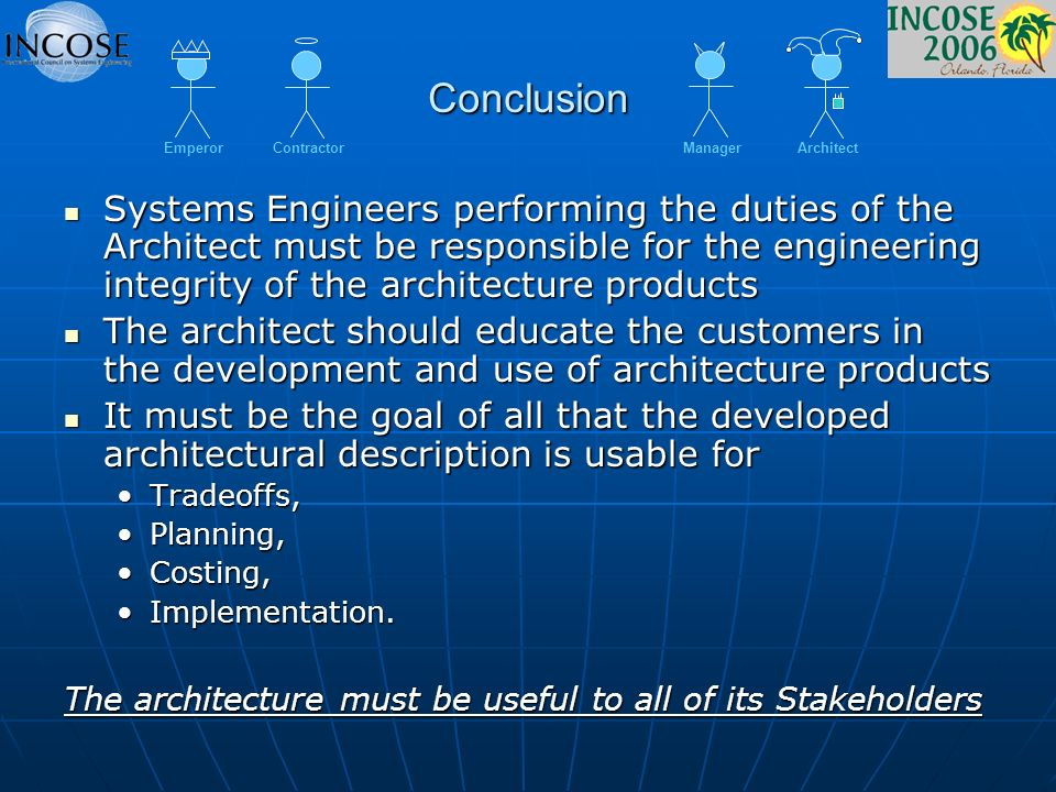 Conclusion Systems Engineers performing the duties of the Architect must be responsible for the engineering integrity of the architecture products Sys