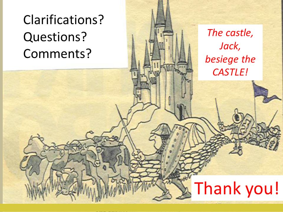 8/21/12Educe LLC25 Clarifications? Questions? Comments? The castle, Jack, besiege the CASTLE! Thank you!