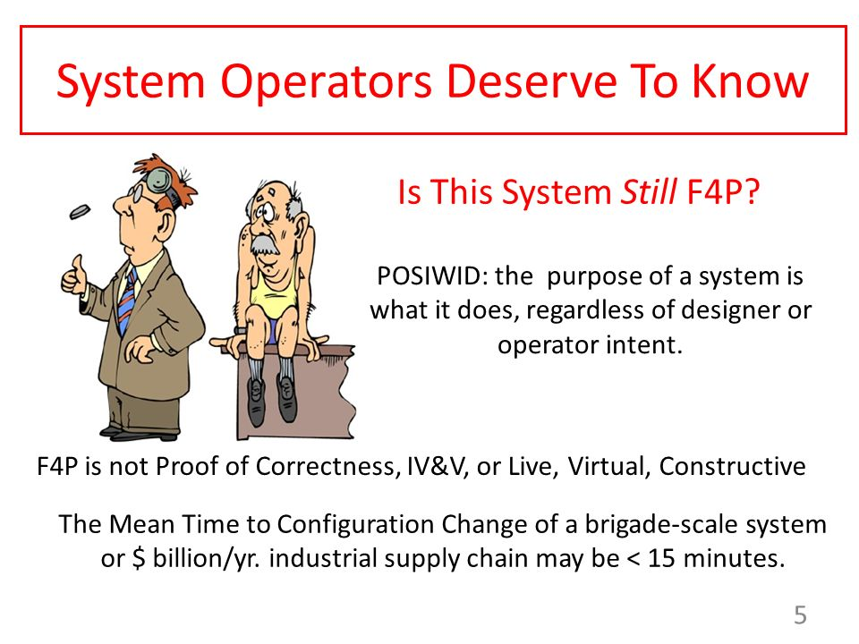System Operators Deserve To Know POSIWID: the purpose of a system is what it does, regardless of designer or operator intent. 5 The Mean Time to Confi