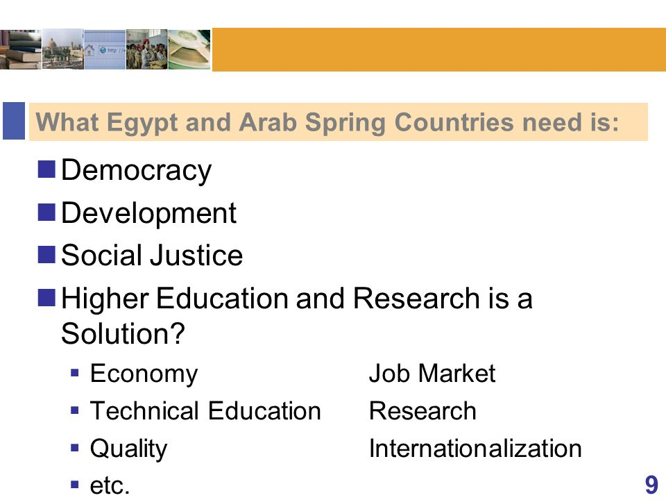 What Egypt and Arab Spring Countries need is: Democracy Development Social Justice Higher Education and Research is a Solution.