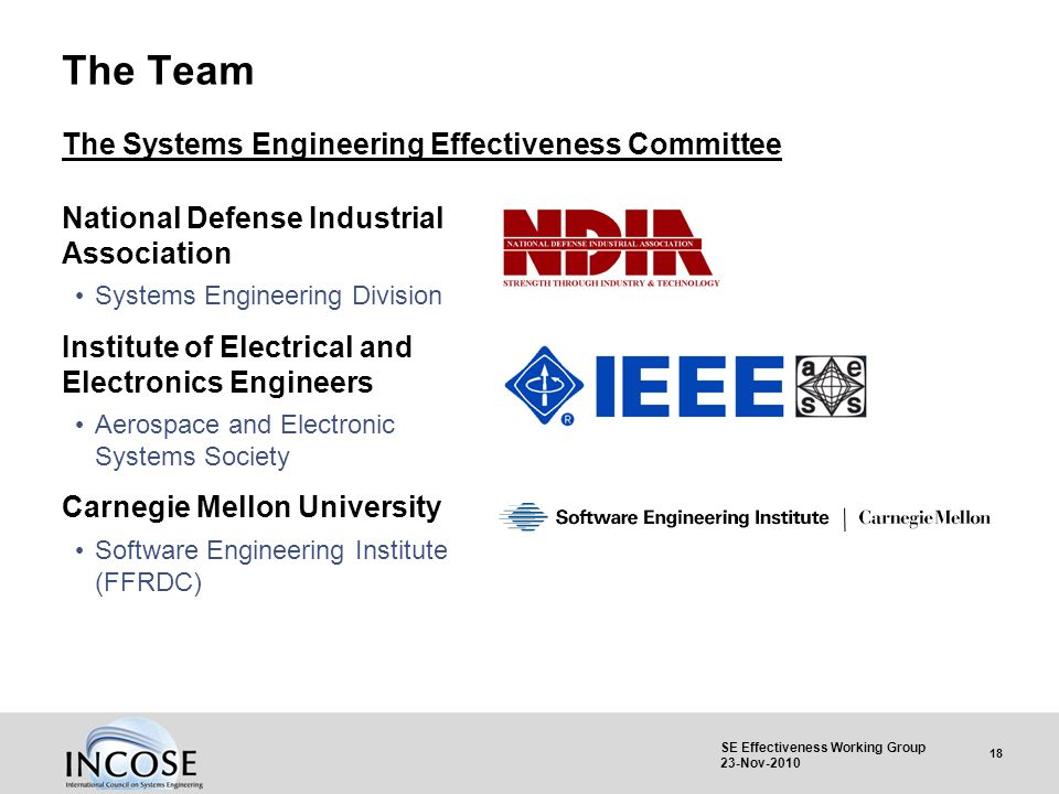 18 SE Effectiveness Working Group 23-Nov-2010 The Team National Defense Industrial Association Systems Engineering Division Institute of Electrical an