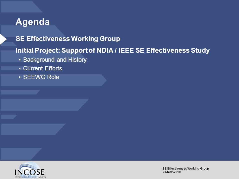 SE Effectiveness Working Group 23-Nov-2010 Agenda SE Effectiveness Working Group Initial Project: Support of NDIA / IEEE SE Effectiveness Study Backgr