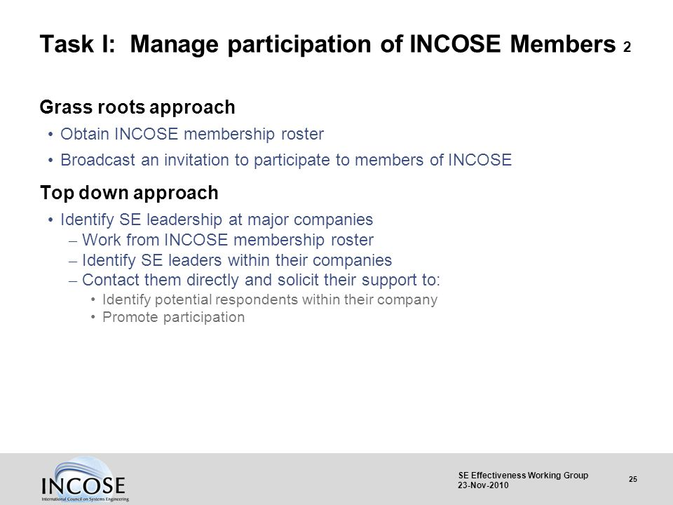 25 SE Effectiveness Working Group 23-Nov-2010 Task I: Manage participation of INCOSE Members 2 Grass roots approach Obtain INCOSE membership roster Br