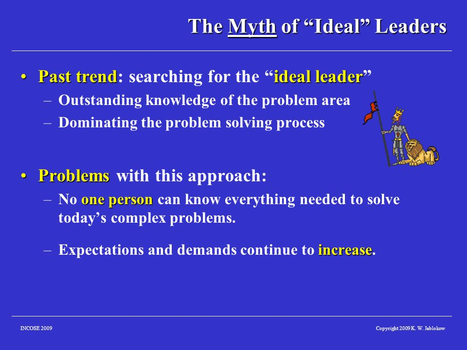 Copyright 2009 K. W. JablokowINCOSE 2009 The Myth of Ideal Leaders Past trendideal leaderPast trend: searching for the ideal leader –Outstanding knowl