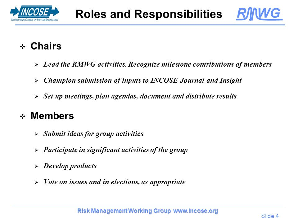 R WG Slide 4 Risk Management Working Group www.incose.org Roles and Responsibilities Chairs Lead the RMWG activities. Recognize milestone contribution