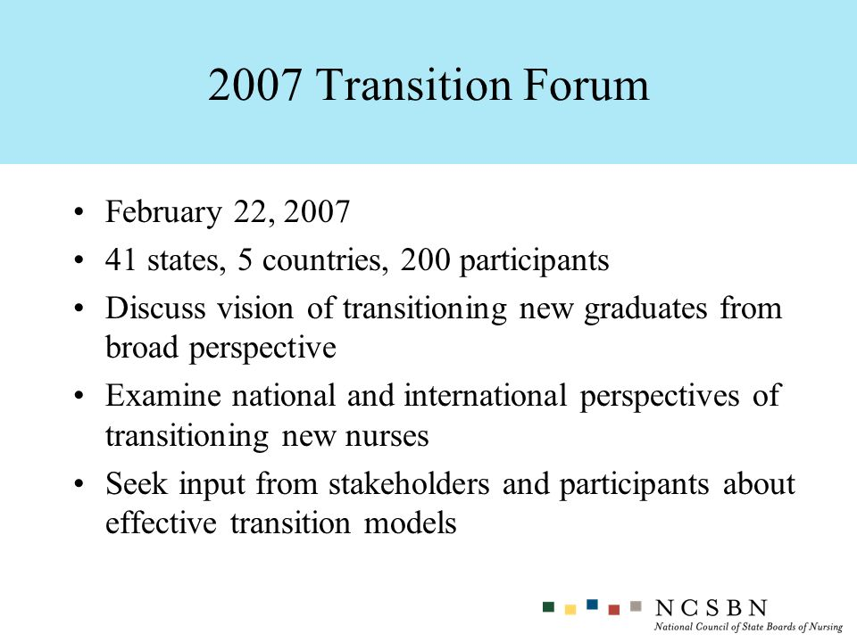 February 22, 2007 41 states, 5 countries, 200 participants Discuss vision of transitioning new graduates from broad perspective Examine national and i