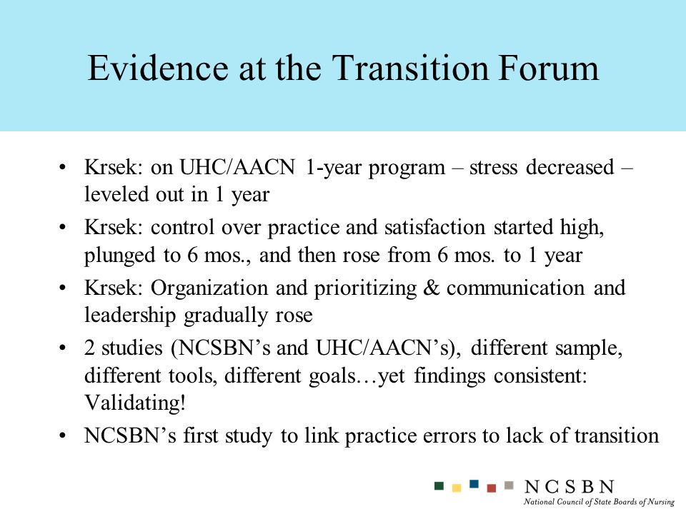 Krsek: on UHC/AACN 1-year program – stress decreased – leveled out in 1 year Krsek: control over practice and satisfaction started high, plunged to 6