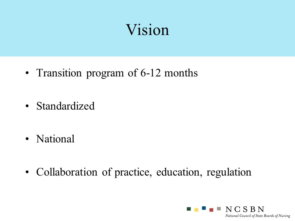 Transition program of 6-12 months Standardized National Collaboration of practice, education, regulation Vision