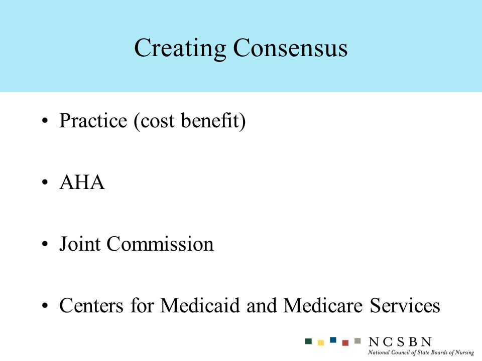Practice (cost benefit) AHA Joint Commission Centers for Medicaid and Medicare Services Creating Consensus