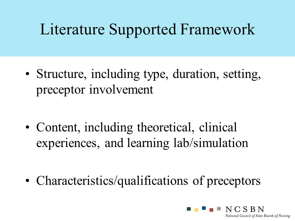 Structure, including type, duration, setting, preceptor involvement Content, including theoretical, clinical experiences, and learning lab/simulation