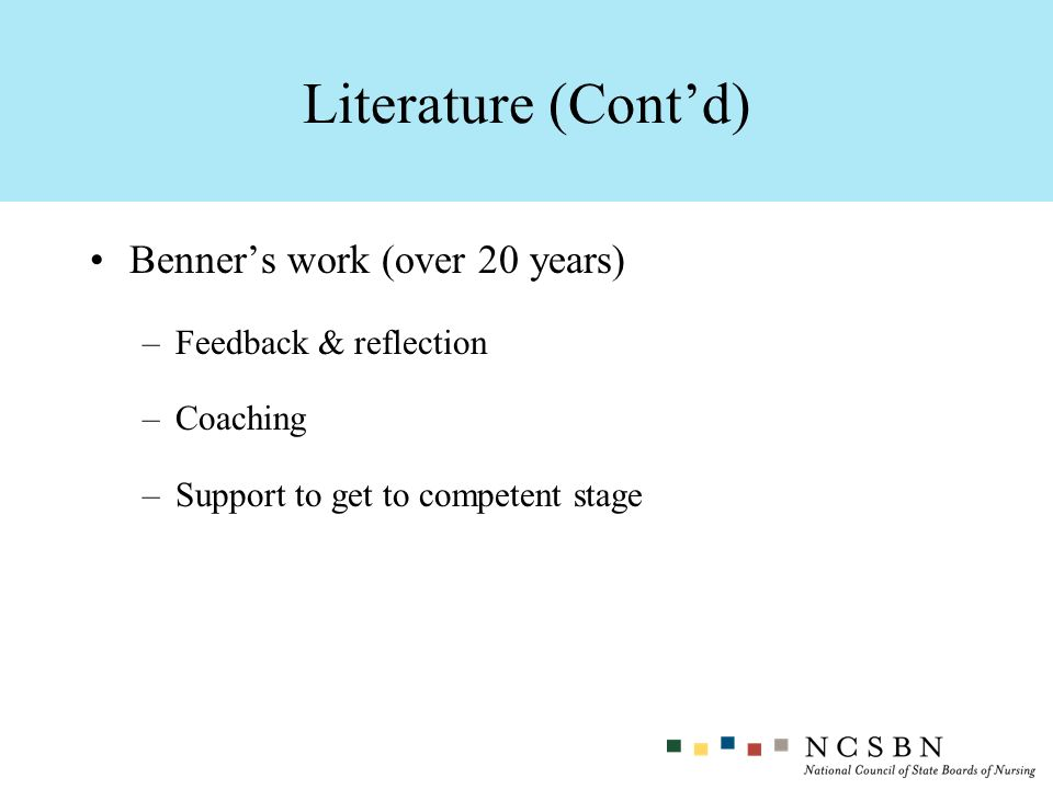 Benners work (over 20 years) –Feedback & reflection –Coaching –Support to get to competent stage Literature (Contd)