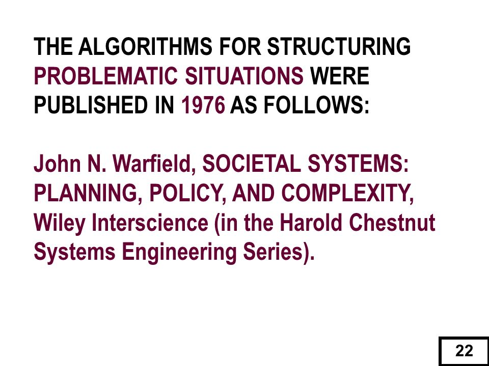 THE ALGORITHMS FOR STRUCTURING PROBLEMATIC SITUATIONS WERE PUBLISHED IN 1976 AS FOLLOWS: John N. Warfield, SOCIETAL SYSTEMS: PLANNING, POLICY, AND COM