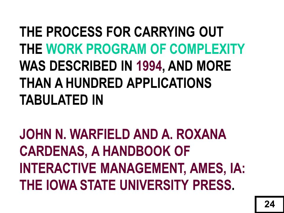 THE PROCESS FOR CARRYING OUT THE WORK PROGRAM OF COMPLEXITY WAS DESCRIBED IN 1994, AND MORE THAN A HUNDRED APPLICATIONS TABULATED IN JOHN N. WARFIELD
