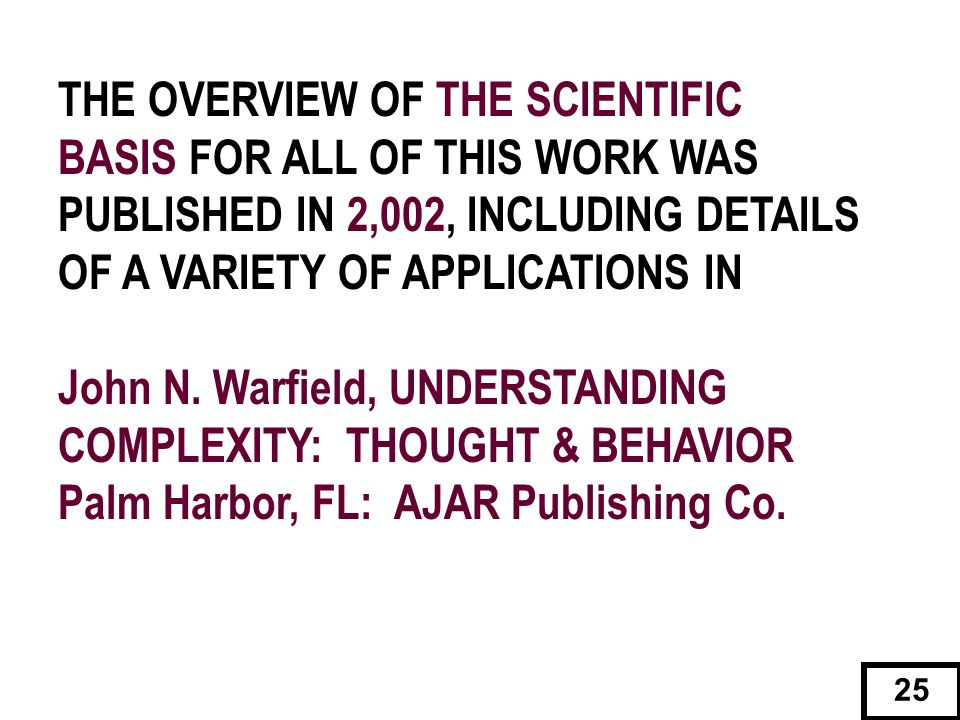 THE OVERVIEW OF THE SCIENTIFIC BASIS FOR ALL OF THIS WORK WAS PUBLISHED IN 2,002, INCLUDING DETAILS OF A VARIETY OF APPLICATIONS IN John N. Warfield,