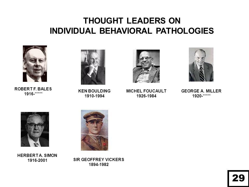 THOUGHT LEADERS ON INDIVIDUAL BEHAVIORAL PATHOLOGIES GEORGE A. MILLER 1920-***** MICHEL FOUCAULT 1926-1984 ROBERT F. BALES 1916-***** KEN BOULDING 191