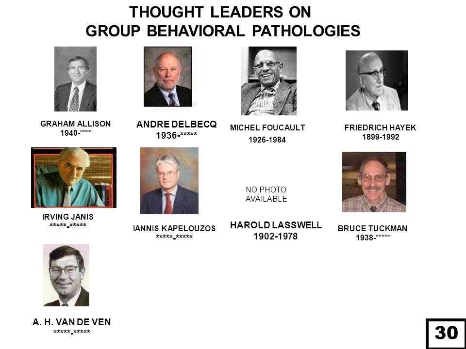 GRAHAM ALLISON 1940-**** FRIEDRICH HAYEK 1899-1992 MICHEL FOUCAULT 1926-1984 IANNIS KAPELOUZOS *****-***** THOUGHT LEADERS ON GROUP BEHAVIORAL PATHOLO