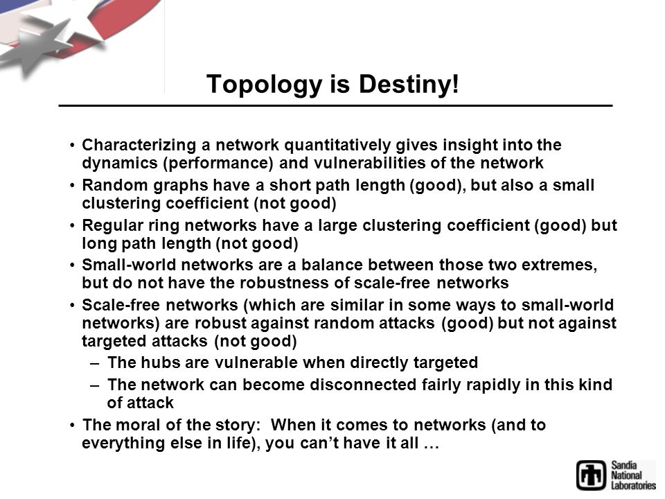 Topology is Destiny! Characterizing a network quantitatively gives insight into the dynamics (performance) and vulnerabilities of the network Random g
