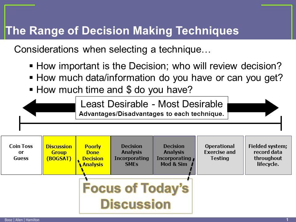 0 0 Exploring a Range of Decision Making Techniques Nov 18,2009 John Bates ( bates_john@bah.com ) bates_john@bah.com