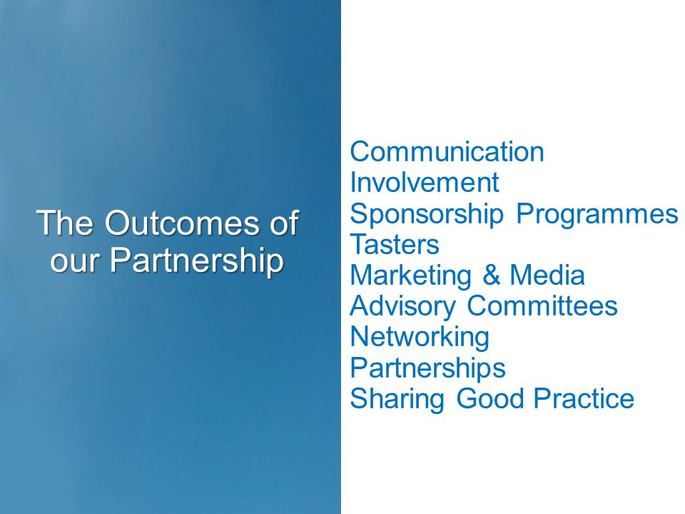Communication Involvement Sponsorship Programmes Tasters Marketing & Media Advisory Committees Networking Partnerships Sharing Good Practice The Outco