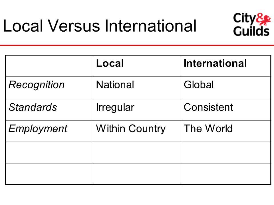 LocalInternational RecognitionNationalGlobal StandardsIrregularConsistent EmploymentWithin CountryThe World Local Versus International