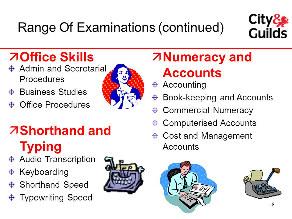 18 äNumeracy and Accounts Range Of Examinations (continued) Admin and Secretarial Procedures Business Studies Office Procedures äShorthand and Typing