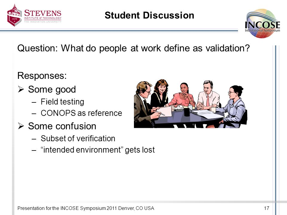 Presentation for the INCOSE Symposium 2011 Denver, CO USA17 Student Discussion Question: What do people at work define as validation.