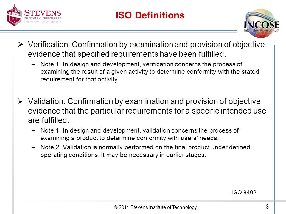 ISO Definitions Verification: Confirmation by examination and provision of objective evidence that specified requirements have been fulfilled.
