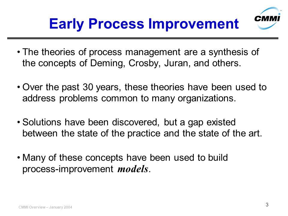 CMMI Overview – January 2004 24 P r o c e s s A r e a RM PP PMC etc 543210543210 C a p a b i l i t y An Example Process Area Capability Profile