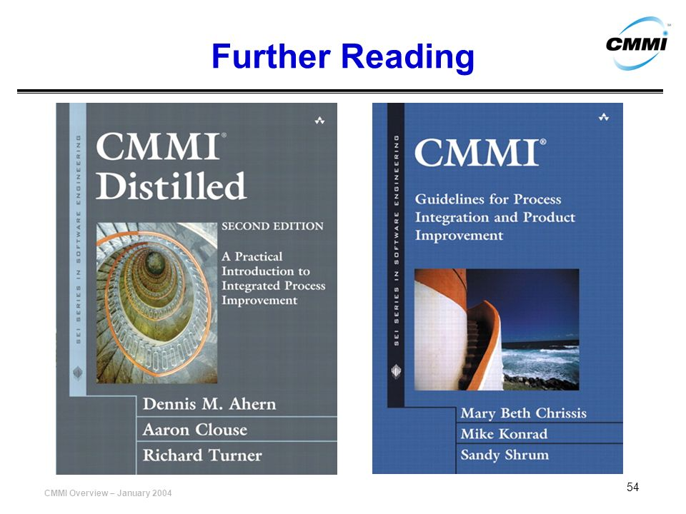 CMMI Overview – January 2004 54 Further Reading
