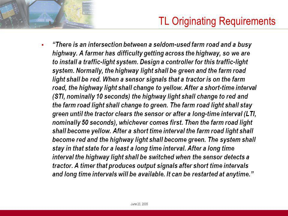 June 23, 2005 TL Originating Requirements There is an intersection between a seldom-used farm road and a busy highway.