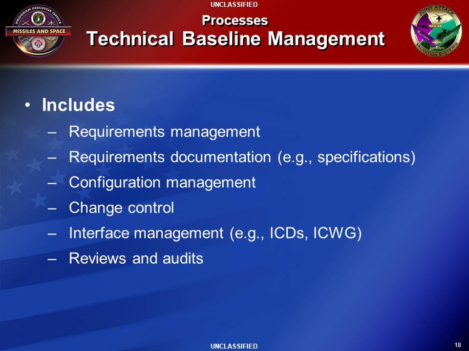 18 UNCLASSIFIED Processes Technical Baseline Management Includes –Requirements management –Requirements documentation (e.g., specifications) –Configur