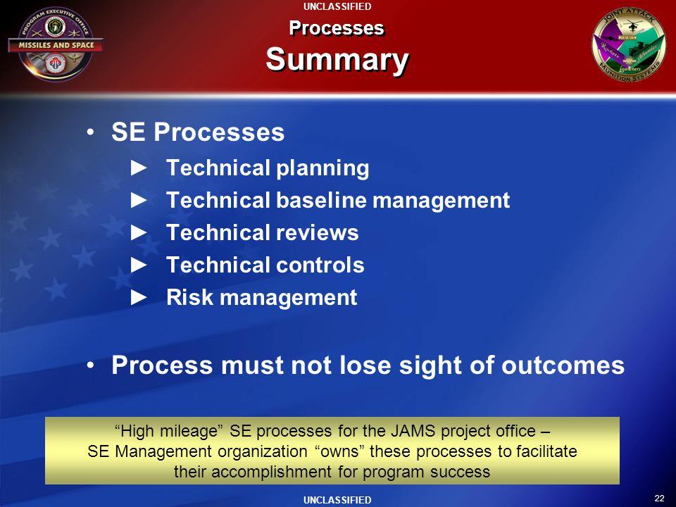 22 UNCLASSIFIED Processes Summary SE Processes Technical planning Technical baseline management Technical reviews Technical controls Risk management P