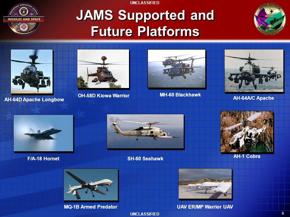 8 UNCLASSIFIED JAMS Supported and Future Platforms AH-64A/C Apache AH-1 Cobra F/A-18 Hornet OH-58D Kiowa Warrior SH-60 Seahawk MH-60 Blackhawk MQ-1B A