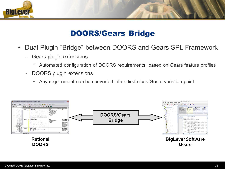 Copyright © 2010 BigLever Software, Inc. 31 DOORS/Gears Bridge Dual Plugin Bridge between DOORS and Gears SPL Framework -Gears plugin extensions Autom