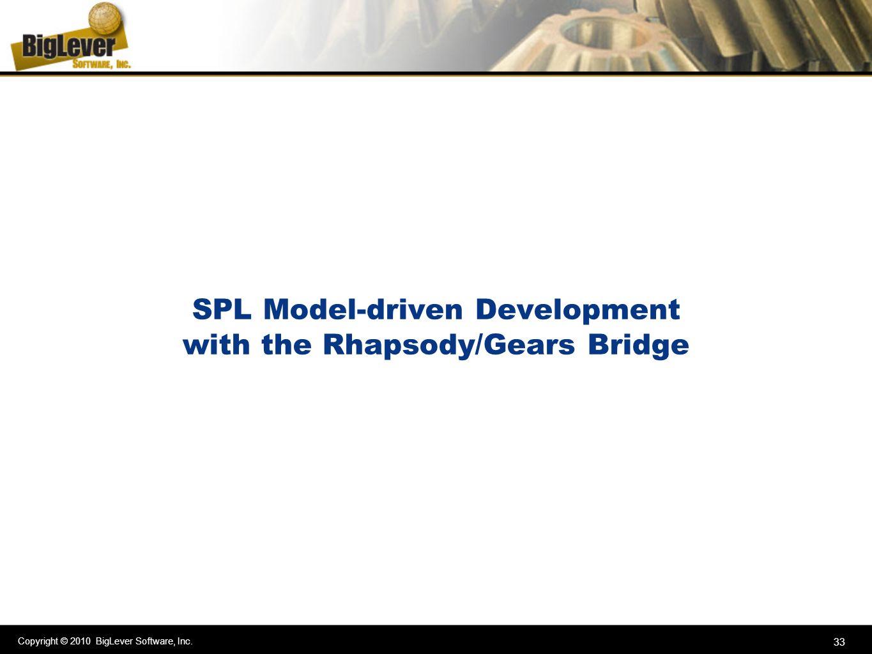 Copyright © 2010 BigLever Software, Inc. 33 SPL Model-driven Development with the Rhapsody/Gears Bridge
