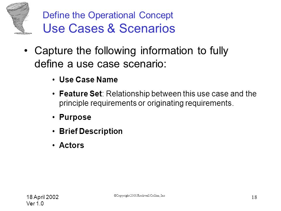 18 April 2002 Ver 1.0 ©Copyright 2001 Rockwell Collins, Inc 18 Define the Operational Concept Use Cases & Scenarios Capture the following information