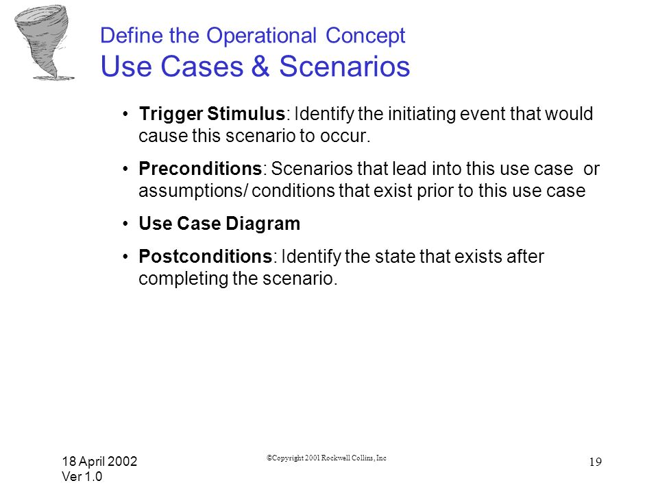 18 April 2002 Ver 1.0 ©Copyright 2001 Rockwell Collins, Inc 19 Define the Operational Concept Use Cases & Scenarios Trigger Stimulus: Identify the ini