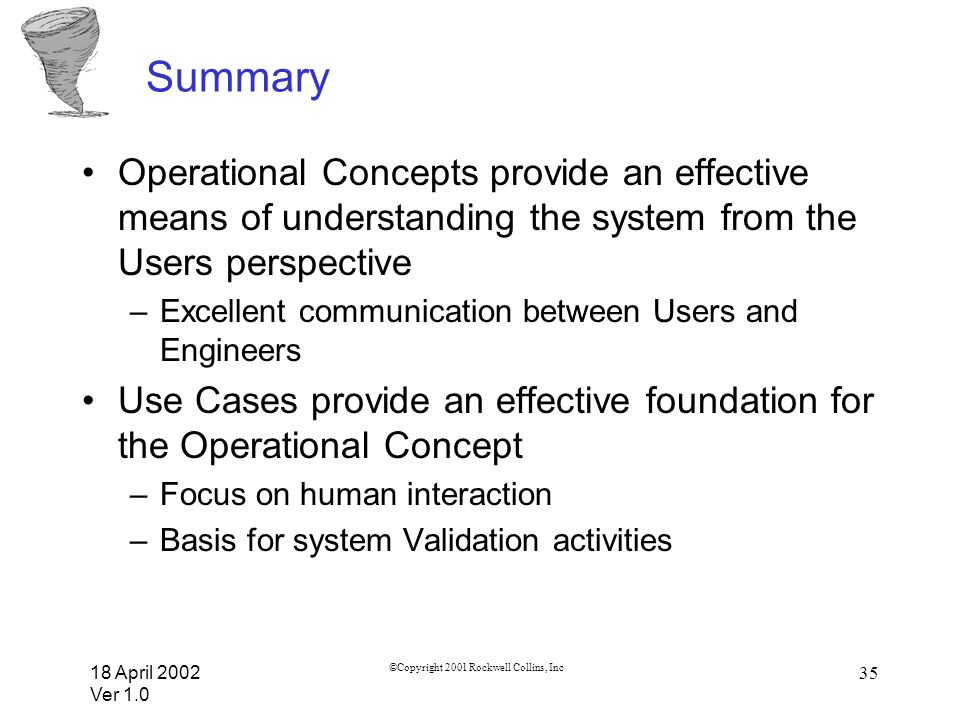 18 April 2002 Ver 1.0 ©Copyright 2001 Rockwell Collins, Inc 35 Summary Operational Concepts provide an effective means of understanding the system fro