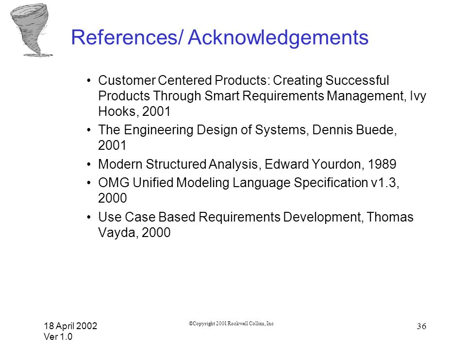 18 April 2002 Ver 1.0 ©Copyright 2001 Rockwell Collins, Inc 36 References/ Acknowledgements Customer Centered Products: Creating Successful Products T