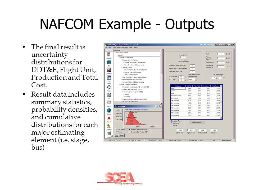 NAFCOM Example - Outputs The final result is uncertainty distributions for DDT&E, Flight Unit, Production and Total Cost. Result data includes summary