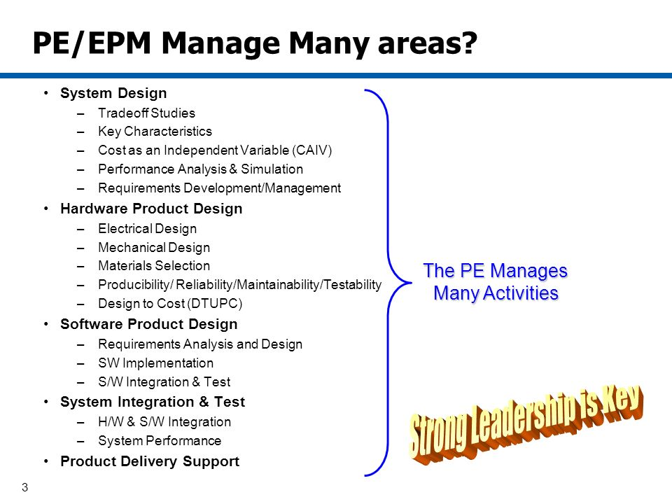 3 PE/EPM Manage Many areas.